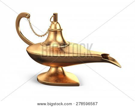 Aladdin yellow magic oil lamp. Gold lamp genie isolated on white background - 3d rendering