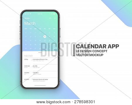 Calendar App Concept March 2019 Page with To Do List and Tasks UI UX Design Mockup Vector on Frameless Smartphone Screen Isolated on White Background. Planner Application Template for Mobile Phone