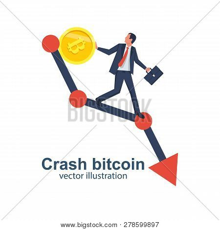 Crash Bitcoin Concept. Cryptocurrency Decline. Bitcoin Price Drops. Vector Illustration Flat Design.