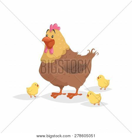 Cartoon Funny Brown Hen With Little Yellow Chickens. Comic Trendy Flat Style With Simple Gradients.