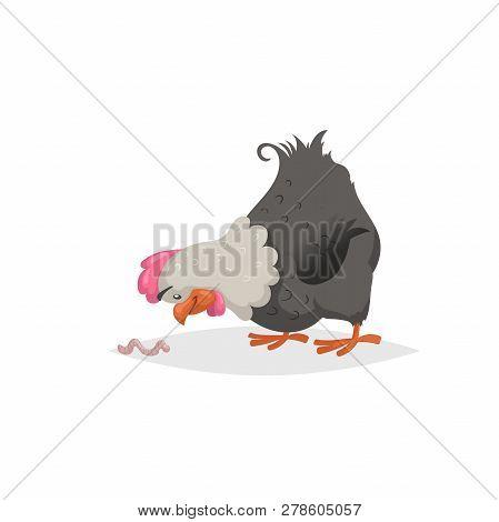 Cartoon Black Hen Looking On Earthworm. Farm Animals Scene. Trendy Comic Flat Design. Ideal For Educ