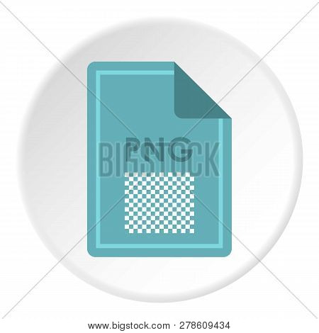 File PNG icon in flat circle isolated illustration for web poster