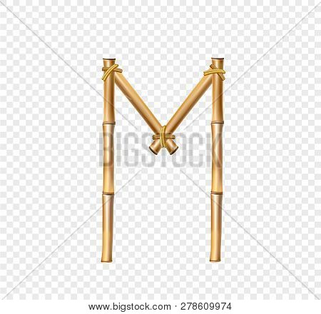 d3d460df59c83 Vector bamboo alphabet. Capital letter M made of realistic brown dry bamboo  poles isolated on transparent background. Abc concept for creating words