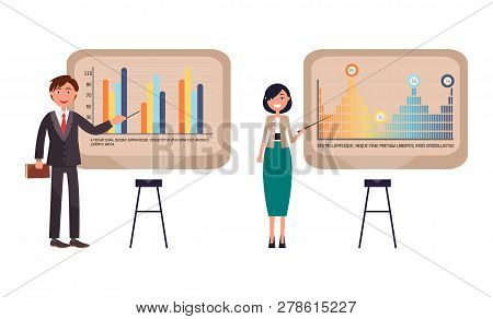 Presenters Businesswoman And Businessman On Seminar Giving Presentation Vector. Conference Analyzing