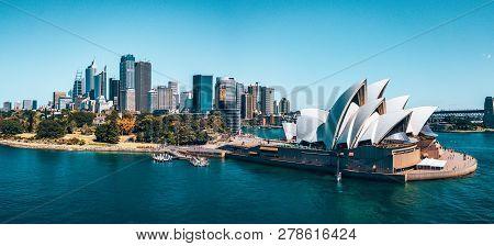 January 10, 2019. Sydney, Australia. Landscape Aerial View Of Sydney Opera House Near Sydney Busines