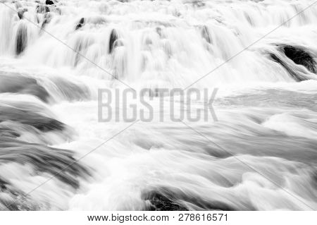 Gullfoss Waterfall Located In Canyon River Southwest Iceland. Water Stream Flow. Waterfall Nature La