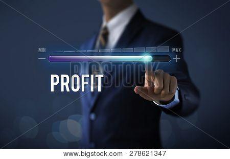 Profit Growth, Increase Profit, Raise Profit Or Business Growth Concept. Businessman Is Pulling Up P