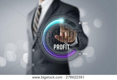 Profit Growth, Increase Profit, Raise Profit Or Business Growth Concept. Businessman Is Pulling Up C