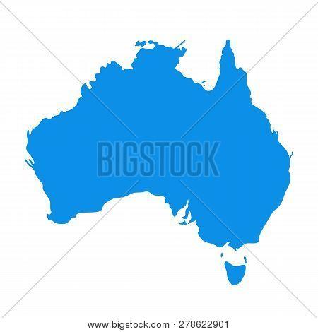 Australia Map. Vector. Australian Continent. Silhouette Of Australia. Color Illustration. Country Ba