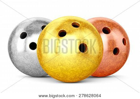 Gold, Silver And Bronze Glossy Bowling Balls Isolated On White