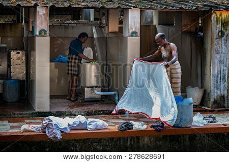 Cochin, Kerala, India : December 25, 2018 : Mens Are Working In A Laundry In Cochin Kerala India