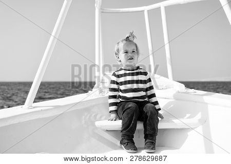 Young Traveler. Child Cute Sailor Yacht Sunny Day. Boy Adorable Sailor Striped Shirt White Yacht Tra