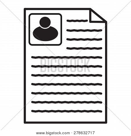 Resume Icon On White Background. Flat Style. Resume Icon For Your Web Site Design, Logo, App, Ui. Co