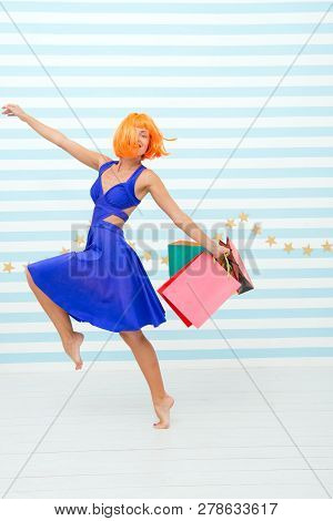 Fashion. Black Friday Sales. Happy Woman Go Shopping. Last Preparations. Big Sale In Shopping Mall.