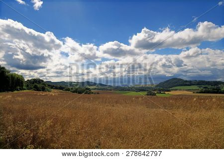 View Of Autumn Landscape, Dry Grass, Greenery, Mild Hillside With Forests On A Blue Sky Background W