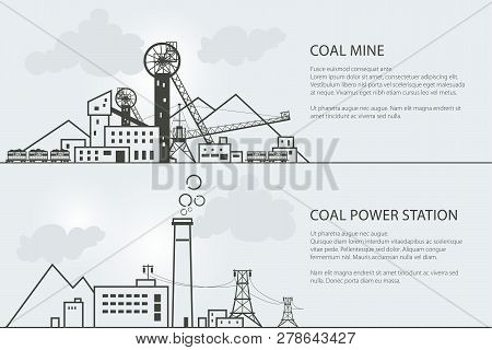 Set Of Horizontal Banners With Coal Mining And Power Station, Complex Industrial Facilities With Spo