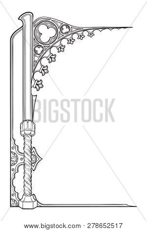 Medieval Manuscript Style Rectangular Frame. Gothic Style Pointed Arch. Vertical Orientation. Eps10