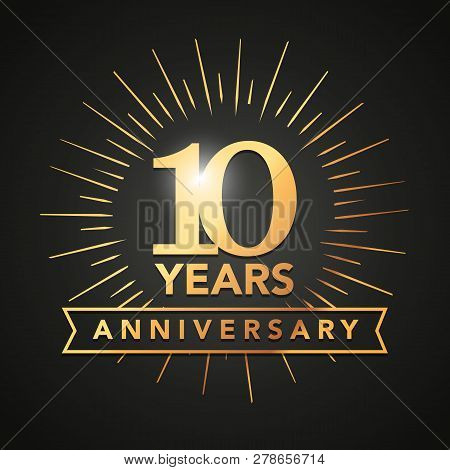 Vector Illustration 10 Anniversary Gold Numbers With Golden Banner. Celebration 10th Anniversary Eve