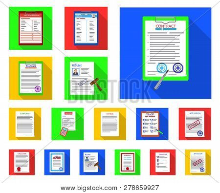 Vector Illustration Of Form And Document Sign. Collection Of Form And Mark Vector Icon For Stock.