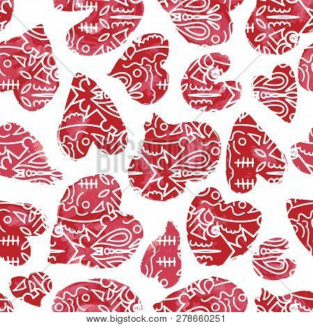 Red Hand Drawn Watercolor Hearts With Tribal Embellishments. Seamless Vector Pattern. Ideal For Vale