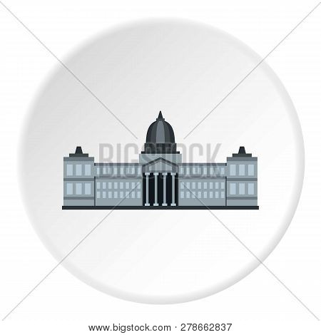 National Congress Building, Argentina Icon In Flat Circle Isolated Illustration For Web