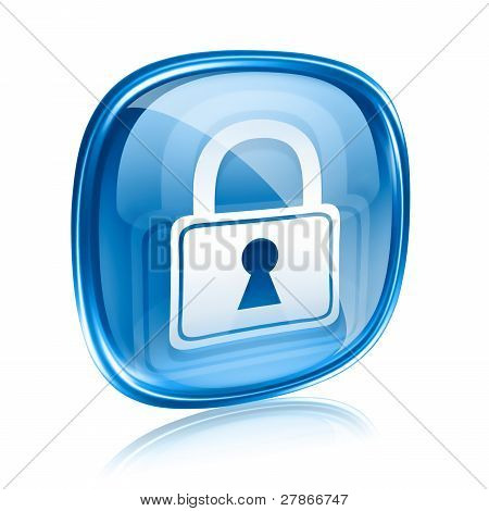 Lock Icon Blue Glass, Isolated On White Background.