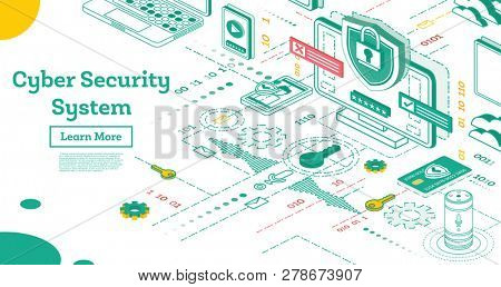 Outline Cyber Security Concept. Isometric Illustration Isolated on White. Data Protection Concept. Credit Card Check and Software Access Data as Confidential.