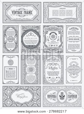 Vintage Vector Set Retro Cards. Template Greeting Card Border Or Invitation