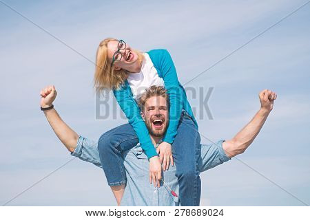 Couple Happy Date Having Fun Together. Lovers Enjoy Date And Feeling Free. Freedom Concept. Man Carr