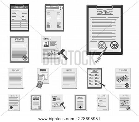 Isolated Object Of Form And Document Logo. Set Of Form And Mark Vector Icon For Stock.