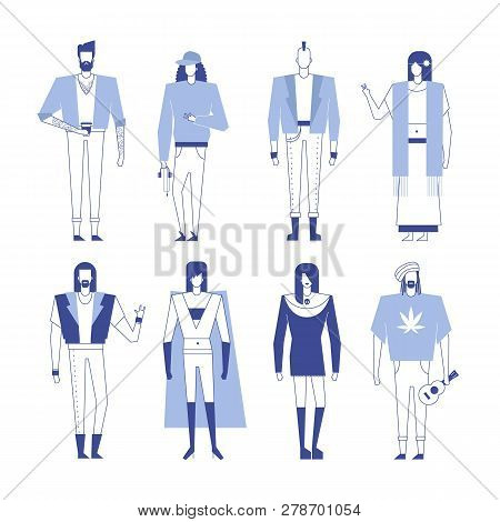 Colorful Flat Line Characters,subculture Music Genre Apparel Style Concept.flat People Outfit Styles