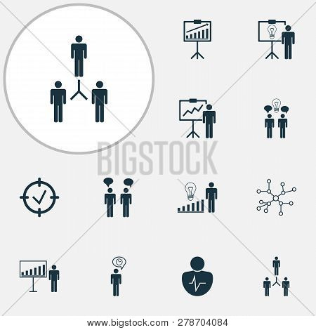 Management Icons Set With Project Goals, Management Improvements, Personal Presentation And Other Co