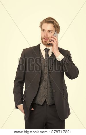 Man In Formal Outfit With Mobile Phone. Manager With Beard On Smiling Face. Conversation And New Tec