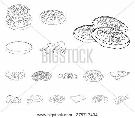 Vector Design Of Burger And Sandwich Logo. Set Of Burger And Slice Stock Vector Illustration.