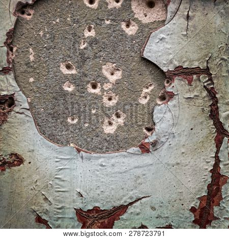 Damaged plasterwork on old wall. Background texture with space for text, or for use as a grunge image ovelay