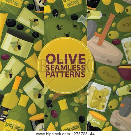 Olive Vector Seamless Pattern Oliveoil Bottle With Virgin Oil Backdrop Natural Olivaceous Ingredient
