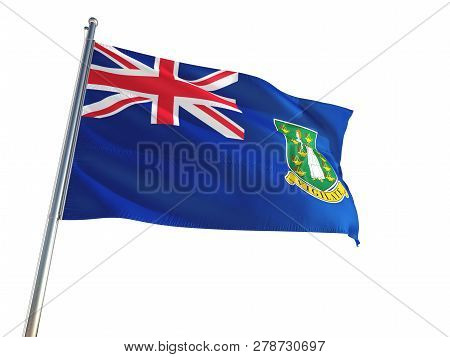 British Virgin Islands National Flag Waving In The Wind, Isolated White Background. High Definition