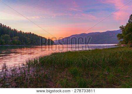 Whitefish Lake At Sunset. Flathead County. Montana. Usa
