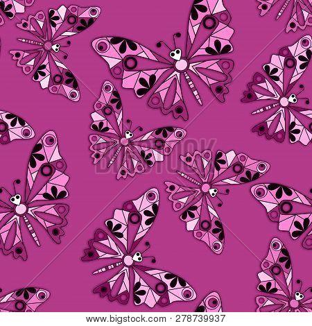Seamless Cartoon Kids Buttefly Pattern Background Romantic