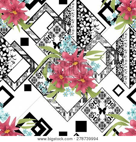 Seamless Floral Pink Flowers On Ornamental Pattern Background