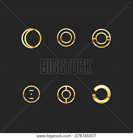 O Letter Logo Template Vector Set. Gold M Symbol Logo Design Set