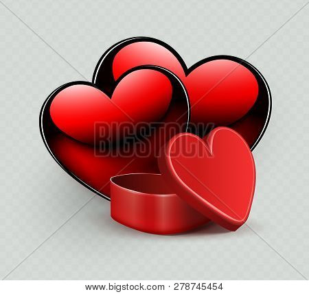 Composition With A Red Casket And The Silhouette Of Two Hearts,
