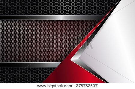 Geometric Background With White Corner And Grooved Mesh Frame With Shiny Edging.