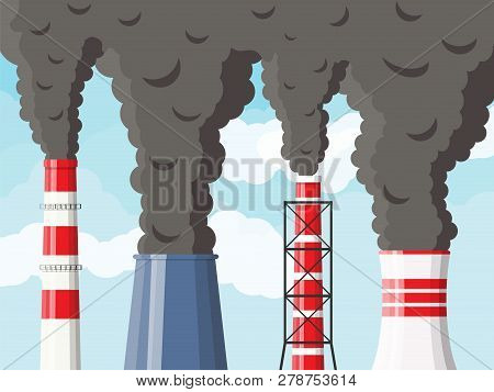 Smoking Factory Pipes Against Clear Sky With Clouds. Plant Pipe With Dark Smoke. Carbon Dioxide Emis