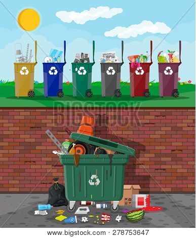 Ecological Lifestyle Concept. Can Container, Bag And Bucket For Garbage. Recycling And Utilization E
