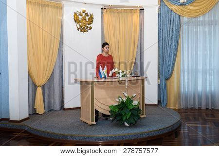 Kirov, Russia - October 12, 2018: Registry Office Of Marriage And Female Manager Of The Registrars O