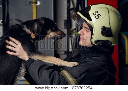 Photo of man firefighter with dog at fire truck