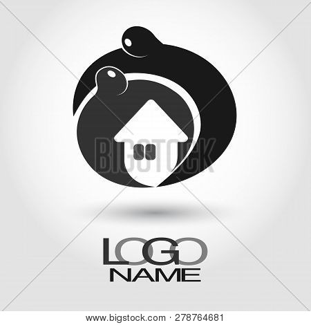 Masculine Hands Protecting A Woman And House, Protecting The Family Hearth. Flat Style For Agency Fo