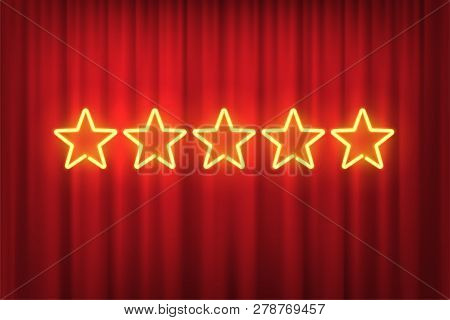 Five Yellow Neon Stars Rating Design Element Isolated On Red Curtain Background. Vector Neon Star Sh