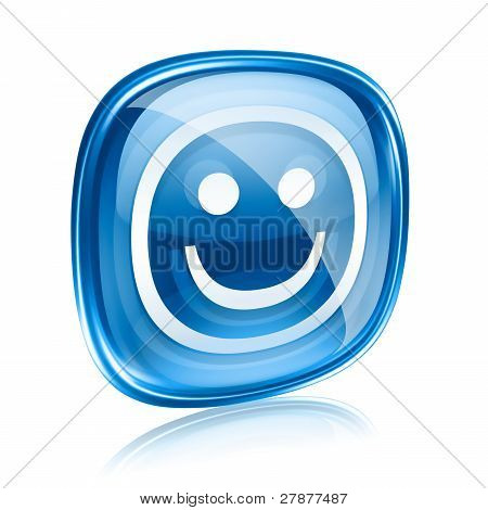 Smiley Blue Glass, Isolated On White Background.